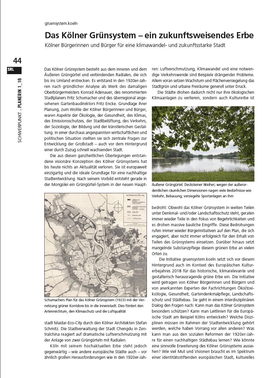 Die Planerin 1_18 der Vereinigung für Stadt-, Regional- und Landesplanung SRL